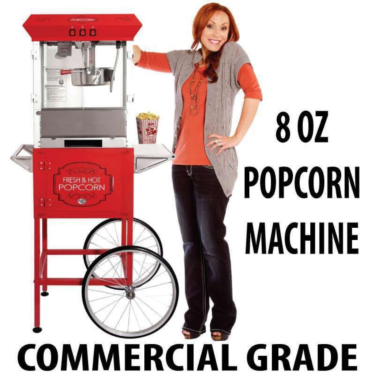 8 oz popcorn machine with cart