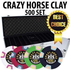 Crazy Horse 500 Poker Chips W/ Aluminum Case