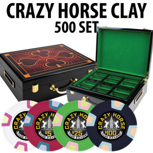 Crazy Horse 500 Poker Chips with Hi Gloss Wood Case