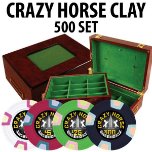 Crazy Horse 500 Poker Chips with Customizable Wood Case
