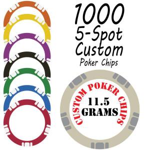 5 Spot 11.5g Custom Chips : 1000 chips