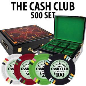 Cash Club 500 Poker Chip Set with Hi Gloss Wood Case