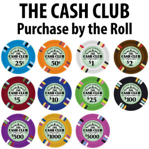 Cash Club Poker Chips : 14g Chips : Sold by the roll