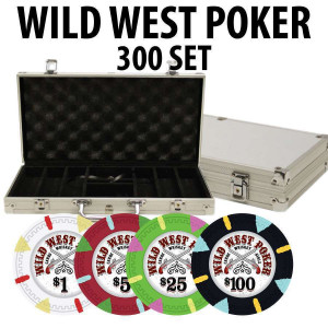 Wild West 300 Poker Chips W/ Aluminum Case