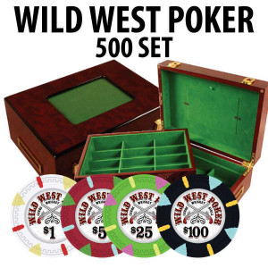 Wild West 500 Poker Chips W/ Customizable Wood case
