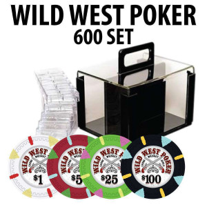 Wild West 600 Poker Chips W/ Acrylic Carrier and racks