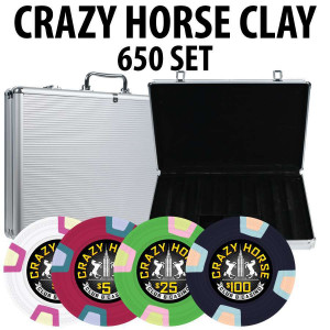 Crazy Horse 650 Poker Chips W/ Aluminum Case