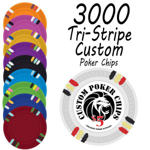 Custom Tri-Stripe Poker Chips : 3000 chips