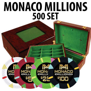 Monaco Millions 500 Poker Chip Set with Customizable Wood case