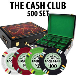 Cash Club 500 Poker Chip Set with Hi Gloss Wood Case