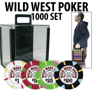 Wild West 1000 Poker Chips W/ Acrylic Carrier and racks