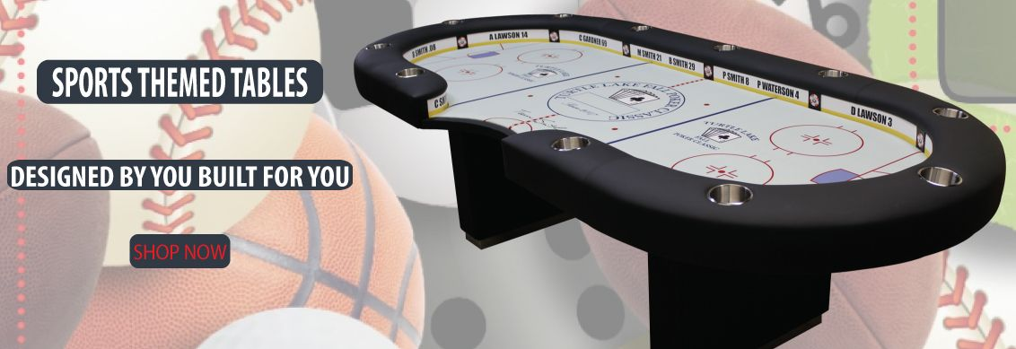 Custom poker table sports themed