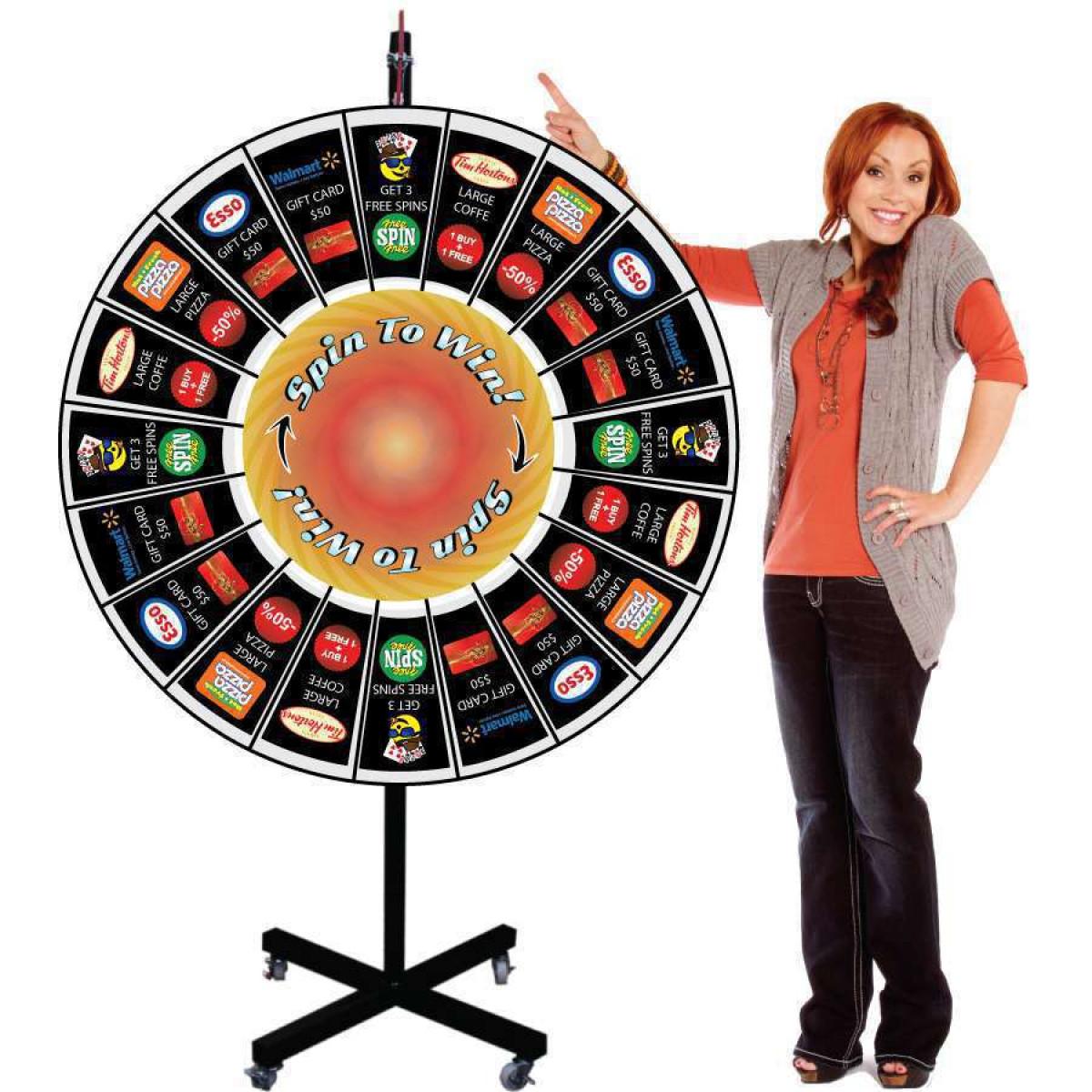 Prize Wheel 48 Inch Large Giant Pocket Insert Customizable with X Shaped  Base
