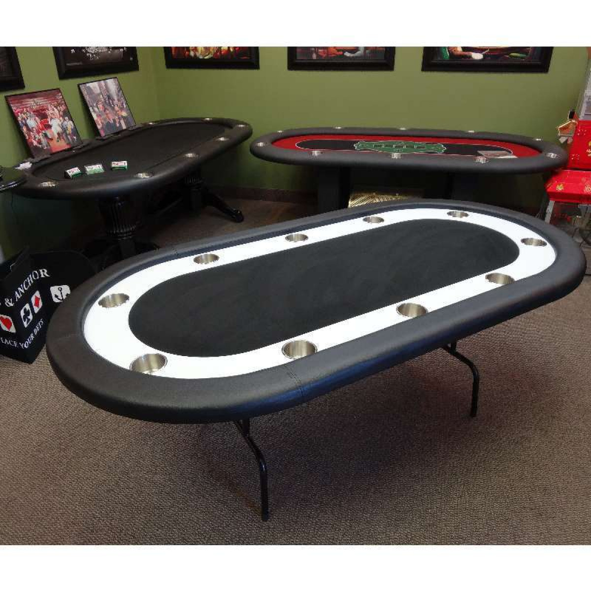 Black Poker Table Racetrack Poker Tables Straight