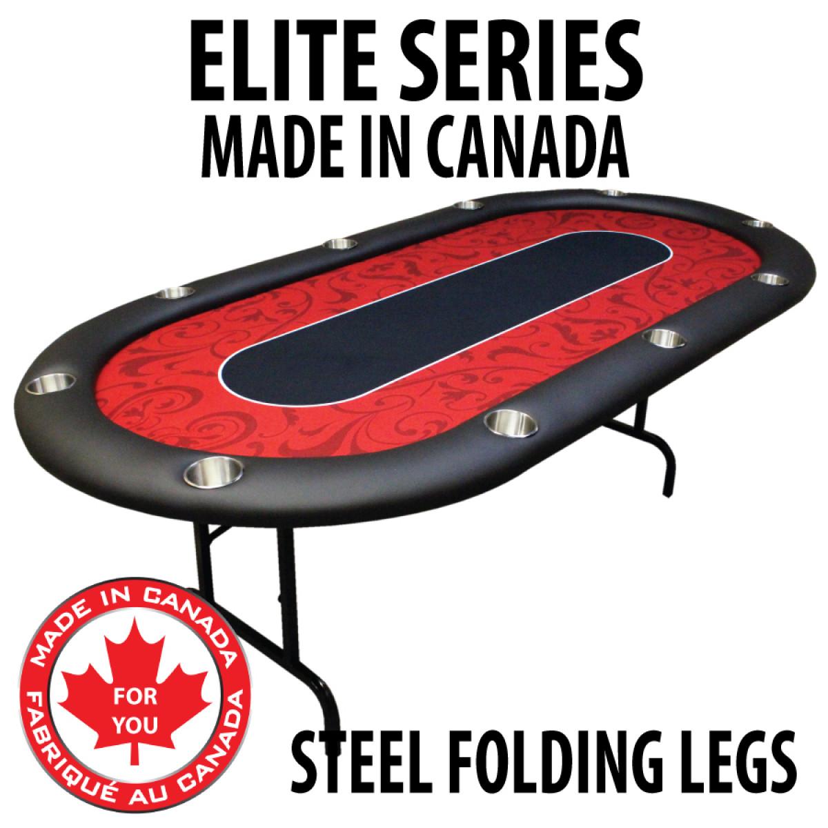 POKER TABLE SPS ELITE Red Full Bumper Table With Steel Folding Legs