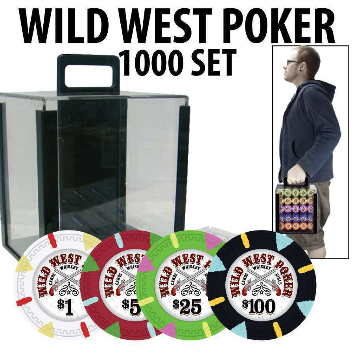 wild west poker chips w acrylic carrier and racks - Poker Chips Set