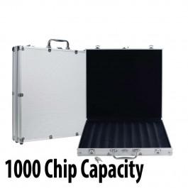 1000 capacity :  Aluminum Case w/grooved Wood Interior