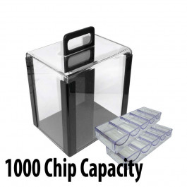 1000 capacity Acrylic Carrier:  Casino Poker Chip carrier case with chip trays