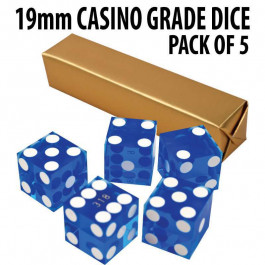 New Blue 19mm Grade A Precision Dice w/Matching Serial #s PACK OF 5