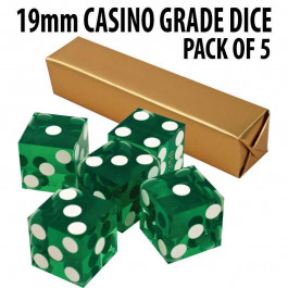 New Green 19mm Grade A Precision Dice w/Matching Serial #s PACK OF 5