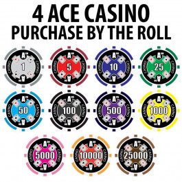 4 Ace Casino : 14g Poker Chips : Sold by the roll