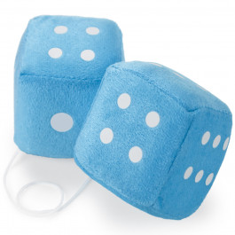 Pair of Blue 3in Hanging Fuzzy Dice
