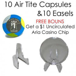 10 Direct Fit Air Tite Poker Chip Capsule 39 mm W/ 10 Easles + Bonus Chip
