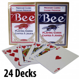 BEE Plastic Coated Cards : 24 Decks Red & Blue