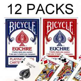 Bicycle Playing Cards EUCHRE Plastic Coated Cards 12 Packs 24 Decks Red & Blue