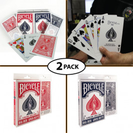 """Bicycle Big Box Jumbo Oversize Playing Cards 4.5""""x7"""" Pack of 2 Red and Blue"""