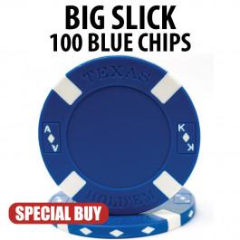 Big Slick 11.5 Gram Poker Chips 100 BLUE Chips CLEARANCE