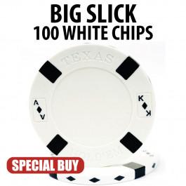 Big Slick 11.5 Gram Poker Chips 100 WHITE Chips CLEARANCE