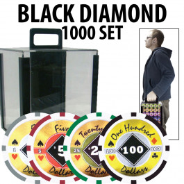Black Diamond Poker Chips 1000 W/ Acrylic Carrier with Racks
