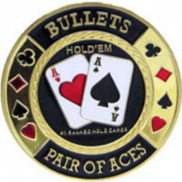 Poker Protector Card Guard Cover in Capsule :  Bullets Gold