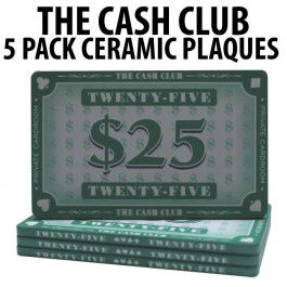 The Cash Club Ceramic Poker Chip Plaques $25  Pack of 5