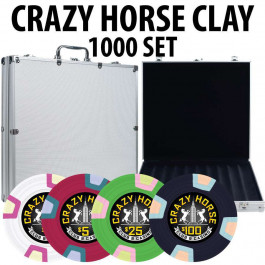 2017 Crazy Horse 1000 Poker Chips W/ Aluminum Case