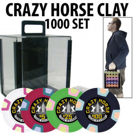 2017 Crazy Horse 1000 Poker Chips W/ Acrylic Carrier and Racks