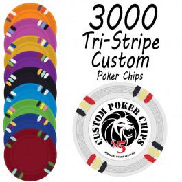 Custom Tri-Stripe Poker Chips : 3000 chips