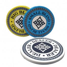 Ceramic Dealer Button Set including Dealer Button, Small and Big Blind