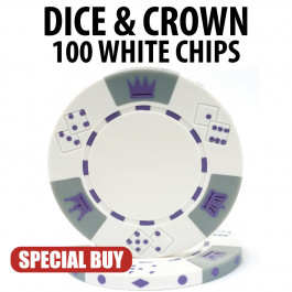 Dice and Crown 11.5 Gram Poker Chips 100 WHITE Chips CLEARANCE
