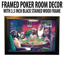 Poker Room art decor Framed Art  : A Bold Bluff by artist Coolidge (Dogs Playing Poker)