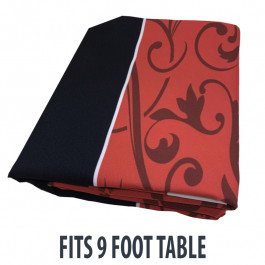 Dye Sublimation Casino Poker Table Cloth - RED FLEUR DE LIS GRAND Design for 9 x 4 foot table