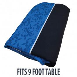 Dye Sublimation Casino Poker Table Cloth - BLUE FLEUR DE LIS GRAND Design for 9 x 4 foot table