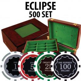 Eclipse Poker Chips 500 W/ Customizable Wood Case