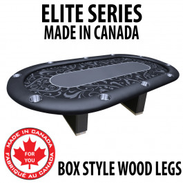 POKER TABLE SPS ELITE - Black Full Bumper Table With Box Style Legs