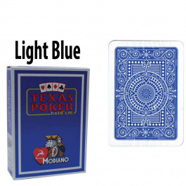 Modiano Texas Holdem Poker Wide Jumbo Index - Single Deck Light Blue