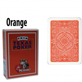 Modiano Texas Holdem Poker Wide Jumbo Index - Single Deck Orange