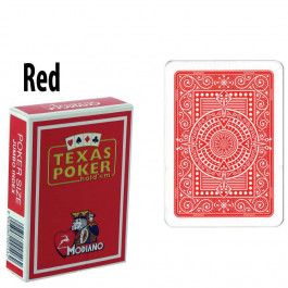 Modiano Texas Holdem Poker Wide Jumbo Index - Single Deck Red