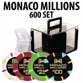 Monaco Millions 600 Poker Chip Set with Acrylic Carrier