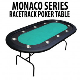 Monaco Series Green Folding Poker Table with Black Racetrack